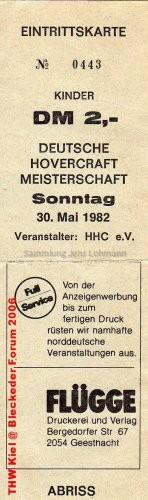 Eintrittskarte Hovercraft 30.05.1982