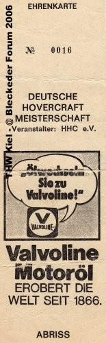 Ehreneintrittskarte Hovercraft 1982
