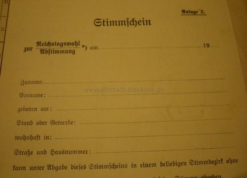 Stimmzettel Reichstagswahl