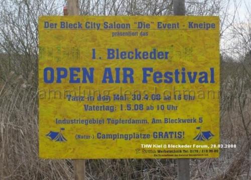 Hinweisschild - Open Air Festival 2008