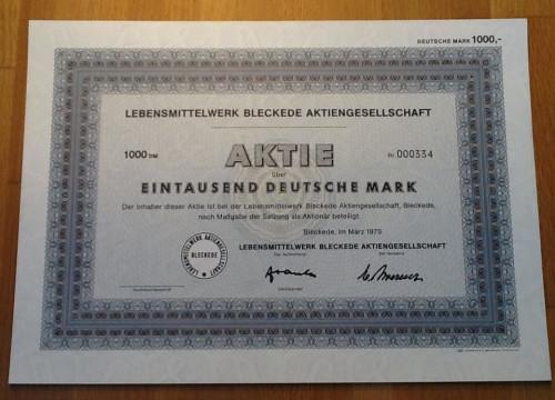 Aktie Lebensmittelwerk Bleckede AG