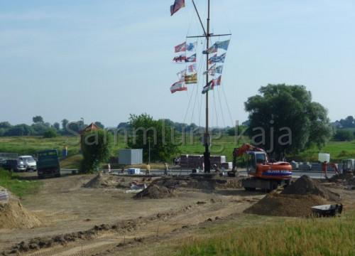 Bauarbeiten am Fahnenmast