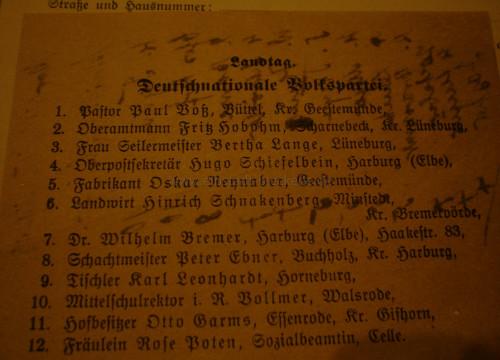 Kandidaten zur Reichstagswahl