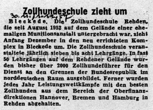 Zollhundeschule - Zeitungsartikel 1957