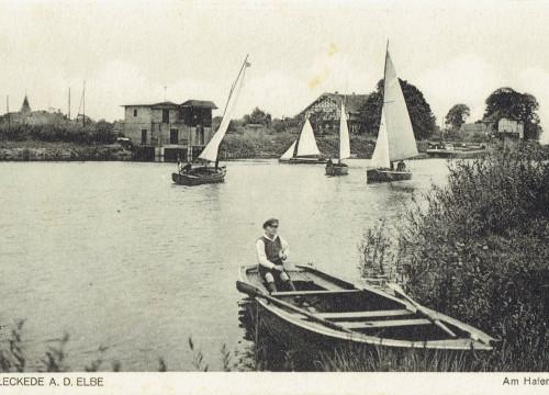 Hafen Bleckede mit Segelschiffen