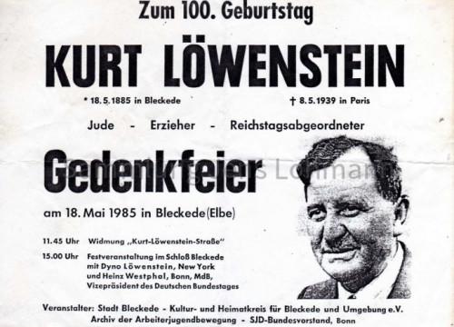 Gedenkfeier Kurt Löwenstein 100. Geburtstag 1985