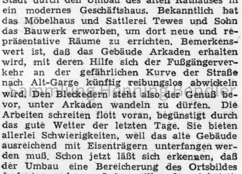 Umbau altes Rathaus - Bericht - 1955
