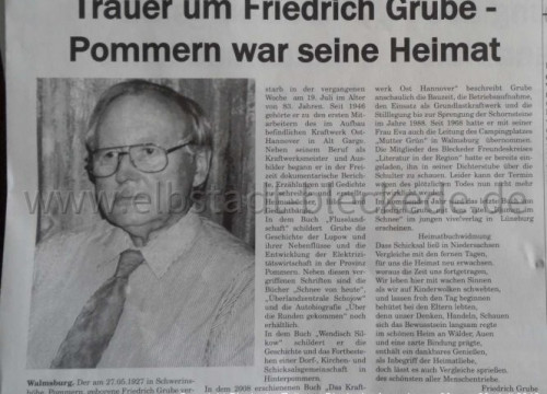Bericht: Trauer um Friedrich Grube