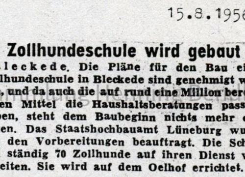 Zeitungsbericht Bau Zollhundeschule 1956