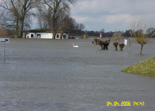 Hochwasser April 2006 - Elbstraße mit Fährhaus