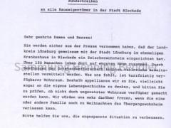 Rundschreiben Stadt Bleckde Übersiedler 1989